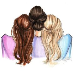 Pin by ishitavallabh on art in 2019 dibujos para amigas, dibujos amigas, 3 Photos Bff, Bff Pictures, Best Friend Pictures, Pictures To Paint, Girly Drawings, Art Drawings Sketches, Mother Daughter Art, Hair Illustration, Sisters Art