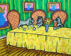 SCHNAUZER-tea-party-11x14-art-PRINT-tea-room-decor-modern-dog-art-folk