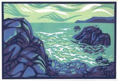 the sea in linocut - Google Search
