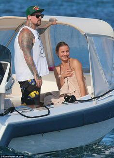 Cameron Diaz & Benji Madden out on the Boat.