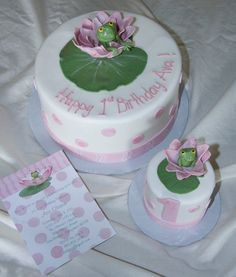 Lily pad cake with a cute smash cake for baby!