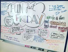 Fun fact Friday -- write a fun and interesting fact about YOU -- whiteboard wisdom Classroom Whiteboard, Whiteboard Friday, Morning Board, Friday Morning, Morning Activities, Fun Fact Friday, Study Tips, Study Hacks, Study Ideas