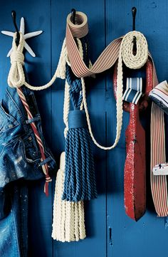 Ralph Lauren Paint's Washed Denim provides the perfect backdrop for an assortment of nautical decor.