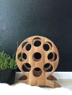 vintage round solid wood wine bottle rack holder