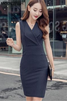 : bodycondressformal bodycondressoutfit bodycondress bodycondressoutfit bodycondresscasual modewish Classic shape can Classic shape can have exciting possibilities, this stripe lapel collar dress is just begging to be transformed into a fabulous upstyled Cute Formal Dresses, Elegant Dresses For Women, Work Dresses, Dresses Dresses, Cute Dresses For Work, Summer Dresses, Formal Dress Patterns, Sparkly Dresses, Wedding Dresses