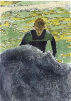 'Surfer' by Peter Doig, 2002.  Oil and charcoal on paper.