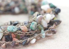 Stone Chip  Necklace Stackable Bracelet  Anklet Boho by beadedwire