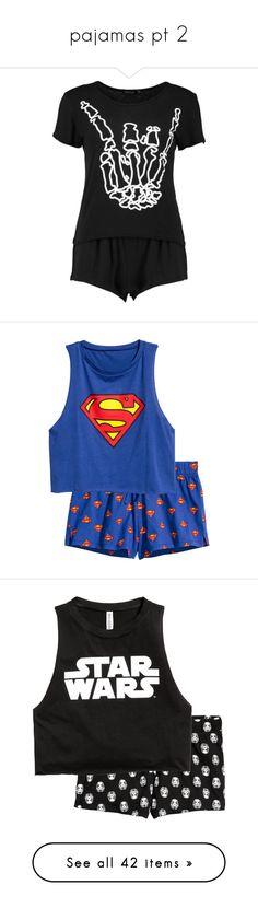 """pajamas pt 2"" by caramara3 ❤ liked on Polyvore featuring intimates, sleepwear, pajamas, tops, shirts, skeleton pajamas, short pajama set, short pjs, short pajamas and star wars"