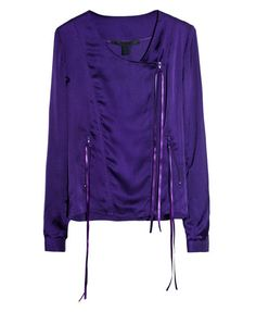 Collarless Silk Satin Jacket with Zip Details