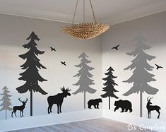 The Woodland Vinyl Wall Decal Woodland Nursery Decal Pine Tree Decal Nature Forest Set 5 Trees Animals Deer Moose Bear Birds online shopping - Nanakoshopping Woodland Bedroom, Woodland Nursery Boy, Woodland Theme, Moose Nursery, Boho Nursery, Nursery Room, Nursery Wall Decals, Vinyl Wall Decals, Wall Mural