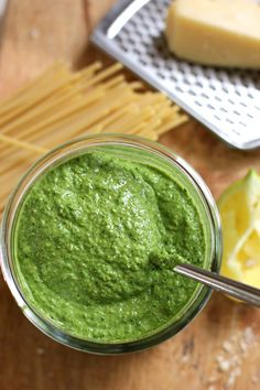 Kale and Walnut Pesto- Any easy, flavorful pesto that's packed with kale and walnuts with a lemony, garlicky kick.