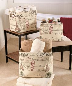 Sets of 3 Printed Fabric Baskets|The Lakeside Collection