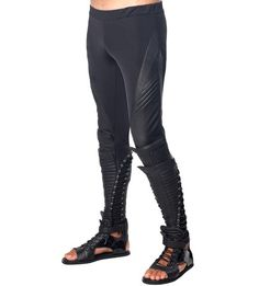 SKINGRAFT - SPORT LEGGING IN BLACK--- I love that a legging wasn't edgy enough, so they add leather/gladiator detailing at the calves.