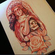 Regardez cette photo Instagram de @lynnakura • 2,036 J'aime #illustration #woman #woman #girl #neotraditionel#neotraditional #neo traditionel #draw #drawing #tattoo#ink #tattooed #inked