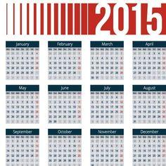 2015 kalender dengan header vektor merah dengan blok biru templat desain unik
