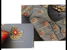 Aari / Hand Embroidery Kundan Work for Blouses / Tops - Step by Step Easy Way Embroidery Hoop Decor, Aari Embroidery, Towel Embroidery, Silk Ribbon Embroidery, Embroidery Dress, Embroidery Stitches, Pillow Embroidery, Hand Embroidery Videos, Hand Embroidery Patterns