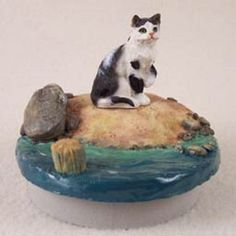 Shorthaired Black & White Cat Candle Topper Beach