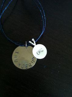 thunder up. okc. hand stamped necklace. okc thunder. okc basketball. $15