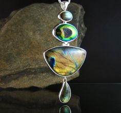Labradorite and Titanium Drusy Quartz Sterling Silver Pendant