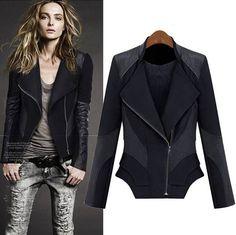 European Style Skinny Turndown Collar Long Sleeve Black
