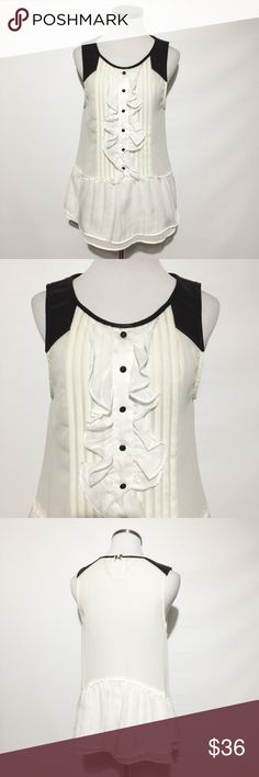 "Free People Top with Faux Leather GUC. Bust measures approximately 18"". Length approximately 27"". Free People Tops Tank Tops"