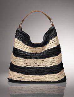 Talbots - Paper Straw Stripe Hobo | Handbags |