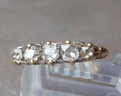 Antique 18k Diamond Ring English 5 stone gold wedding ring anniversary band
