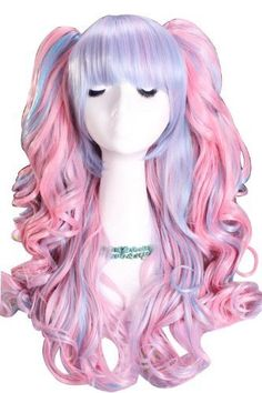 L-email Lolita New Long Powerblue Curly Ponytails Cosplay Party Wig Cb21 by L-email. $38.98. length:long G.W.: 655g Material: heat-resistant fiber  Package incluldes: 1X Wig