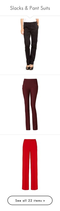 """Slacks & Pant Suits"" by ashleythesm ❤ liked on Polyvore featuring pants, apparel & accessories, black, slim fit pants, slim pants, slim fit trousers, louis vuitton, slacks pants, burgundy and trousers"