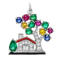 Raymond C. Yard Dream Home Gem-Set Charm | From a unique collection of vintage more jewelry at https://www.1stdibs.com/jewelry/more-jewelry-watches/more-jewelry/