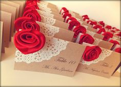 Wedding Place Card / Escort Cards - Vintage Lace and rose on recycled Kraft card, Set of 50. £50.00, via Etsy.