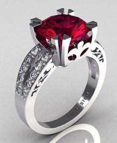 Modern Vintage 14K White Gold 3.0 Carat Rhodolite Garnet Diamond Solitaire Ring