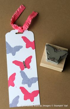 Undefined Stamp Carving-  Butterfly tag