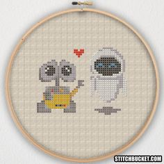 WALL-E and EVE Cross Stitch Pattern Instant Download PDF