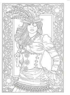 Adult Coloring page from Creative Haven Steampunk Fashions Coloring Book, Dover Publications. Artwork by Marty Noble