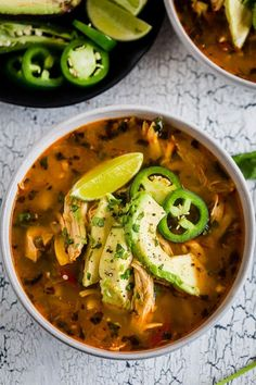 This chicken avocado cilantro lime soup is the perfect cold weather fix. It's packed full of vegetables, spices, rotisserie chicken and topped with creamy Hass avocado. It's ready in just 35 minutes so it's the perfect weeknight comfort meal. Chicken Lime Soup, Rotisserie Chicken Soup, Cilantro Lime Chicken, Chicken Avocado Soup, Chicken Salad, Soup Recipes, Chicken Recipes, Dinner Recipes, Cooking Recipes