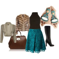 winter sea by galeriamagia on Polyvore featuring moda, River Island, LISKA, Pinko, Rochas and FC Select Vegan Bags