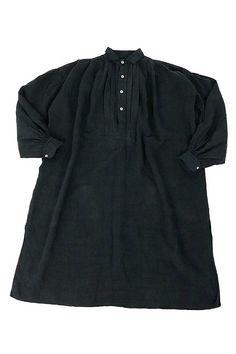 French antique black linen smock dress/France/over-dye