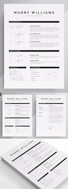 Murry Williams Resume Template the best of modern, professional, creative and simple resume or CV templates from our store. All at discount prices! Resume Layout, Resume Cv, Resume Writing, Resume Tips, Resume Examples, Resume Ideas, Modern Resume Template, Resume Template Free, Free Resume