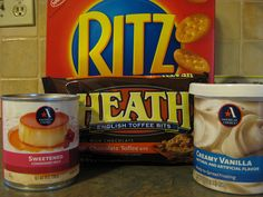 mix crushed Ritz, health bits and put in pan. Pour milk over and bake for 15 min Cake Bars, Pie Cake, Dessert Bars, Easy Desserts, Delicious Desserts, Dessert Recipes, Yummy Food, Yummy Treats, Sweet Treats