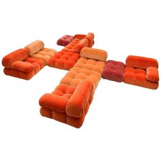 Mario Bellini 'Camaleonda' Sofa Reupholstered in Tri-Tone Velvet | See more antique and modern Sofas at https://www.1stdibs.com/furniture/seating/sofas
