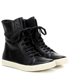 Rick Owens Leather High-top Sneakers For Spring-Summer 2017