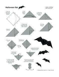 fácil *Broken* How to make an Origami bat *Broken* How to make an Origami bat Origami Design, Diy Origami, Origami Logo, Origami Simple, Origami Paper Folding, How To Make Origami, Origami Tutorial, Origami Halloween, Halloween Art