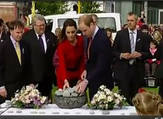 Christchurch, New Zealand, April 14, 2014-The Duke and Duchess of Cambridge each lay a memorial stone in tribute to the 185 people who died as a result of the Christchurch earthquake in 2011.