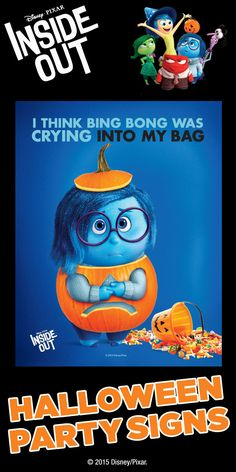 Disney Pixar Inside Out FREE printable Halloween party Sadness sign!