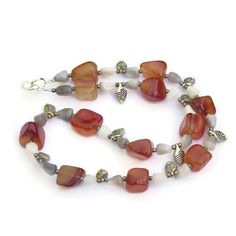 Rustic Chunky Carnelian Agate Necklace Burnt Orange by ALFAdesigns