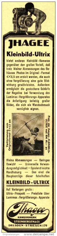 Original-Werbung/Inserat/ Anzeige 1931 - IHAGEE KLEINBILD- ULTRIX - KAMERA/ DRESDEN-STRIESEN ca.45 x 220 m
