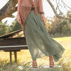 """GRACEFUL DREAMS MAXI SKIRT--An easy, flowing maxi skirt, fully pleated with partial liner. Elastic waist. Silk shell. Polyester liner. Dry clean. Imported. Exclusive. Sizes  XS (2), S (4– to 6), M (8 to –10), L (12 to –14), XL (16). Approx. 39""""L."""