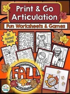 These print and go articulation activities are perfect for working in mixed groups. This set features worksheets & games to use in Fall!