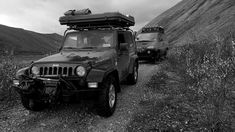 Dominik Modlinski's Jeep and my Delica on the Canol Road, NWT, Canada Jeep, Antique Cars, Monster Trucks, Journey, Canada, Antiques, Vintage Cars, Antiquities, The Journey